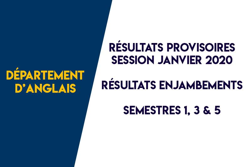 Département d'Anglais – Résultats provisoires des semestres impairs – Session de Janvier 2020