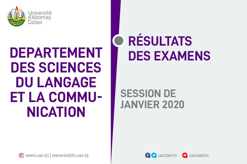 Linguistique : Résultats des examens de la session de Janvier 2020